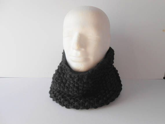 Clothing Gift. Men's Cowl Scarf.  Black Infinity Scarf.