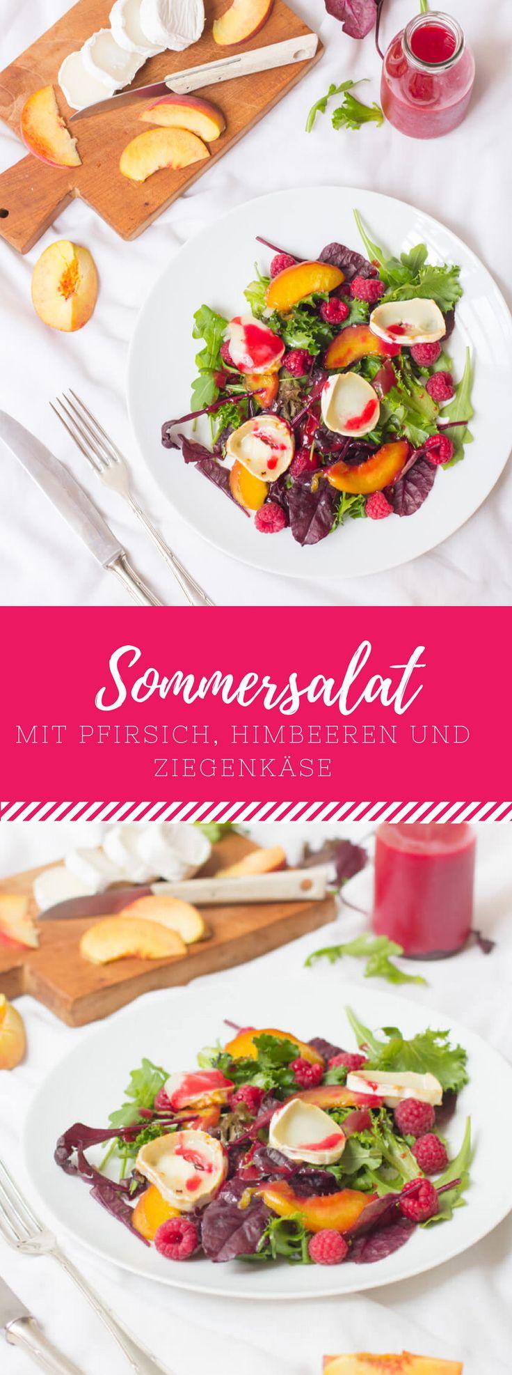 Gesund durch den Sommer: Sommersalat mit Pfirsich, Himbeeren und Ziegenkäse. Ein super einfaches Rezept!