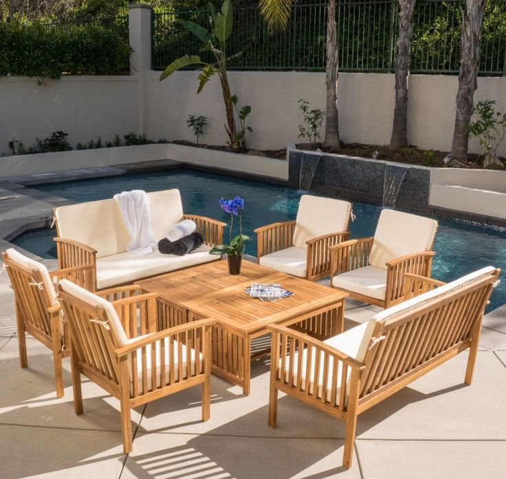 8-piece Acacia Wood Outdoor Sofa Set - Outdoor Furniture Set  | eBay  Get the most out of your outdoor living space when you make this eight-piece outdoor furniture set part of your patio decor. Constructed from sturdy Acacia wood and accented with natural-cream cushions, this outdoor furniture set blends beautifully with any decor. You are sure to relax with family and friends all summer long with this wood sofa set.