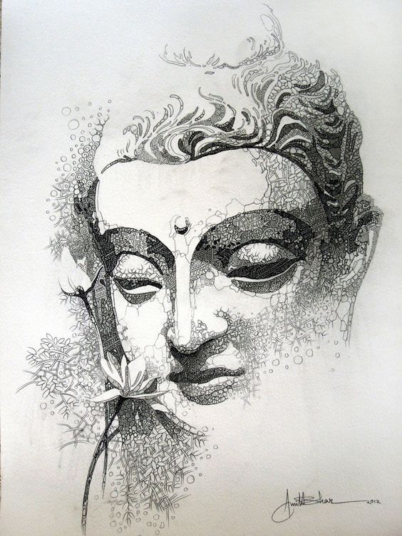 "buddha skatch 15""x22"" acrylic ,pen & pencile on paper Rs– 60,000 INR"