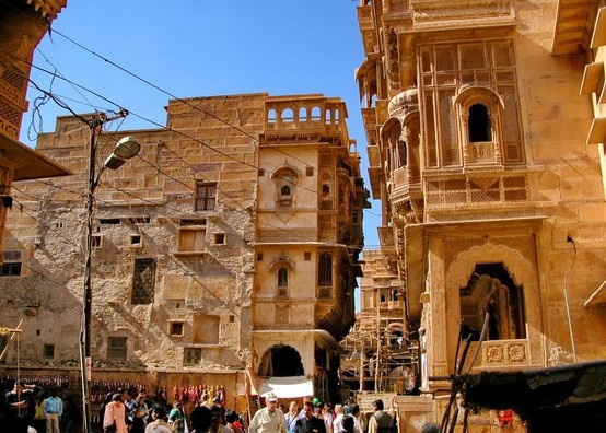 """Inside the grand Jaisalmer Fort, Rajasthan -  The World's only 'living fort', meaning people actually live and work inside its walls! Jaisalmer is also known as """"the golden city"""" because the yellow sand and the yellow sandstone used in every architecture of the city gives a yellowish-golden tinge to the city and its surrounding area.. It was founded by Maharaja Jaisal Singh, a Hindu King in 1156 AD"""