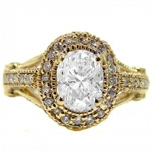 Gawdy?  I think NOT. Just a little bit different. mmdean613: Bling, Vintage Engagement Rings, Yellow Gold, Gold Engagement Rings, Style, Oval Diamond, Jewelry, Things, Gold Wedding