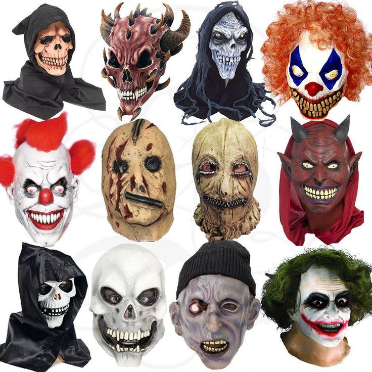 Latex Halloween Costume Overhead Clown Zombies Werewolf Skull Zipper Props Masks