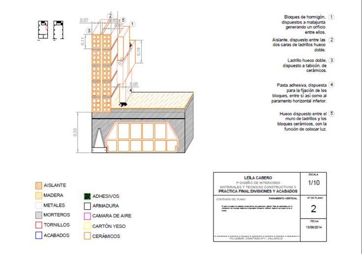 Detalle constructivo de un paramento horizontal. Realizado en Autocad.