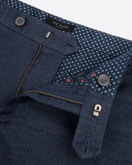 9da4e59d35c913 Slim fit herringone trouser - Navy