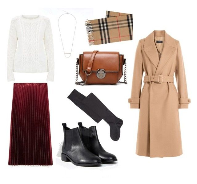 White knit jumper, pleated skirt, beige wool coat, chelsea boots