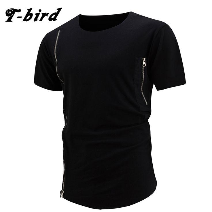 T-bird 2017 Brand Hip Hop Street T-shirt Fashion Personality Zipper Decorate T Shirts Men Summer Short Sleeve Oversize Size XXL  #Affiliate