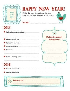 Reflect on the year gone by and set goals for the year for New years goals template
