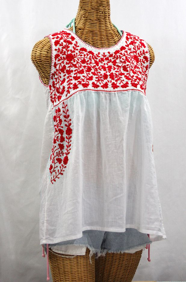 "Siren ""La Sirena"" Sleeveless Mexican Blouse -White   Red $52.95"