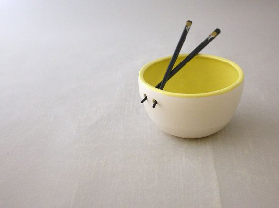 Children's Chopstick Bowl in Farmhouse White and Lemon Yellow by Nstarstudio