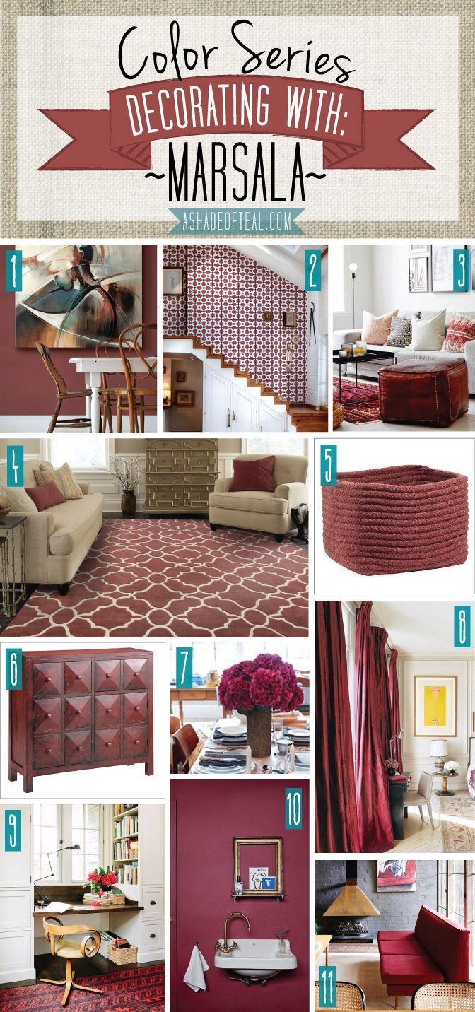 Color Series; Decorating with Marsala | A Shade Of Teal. Marsala Burgundy Maroon home decor | A Shade Of Teal