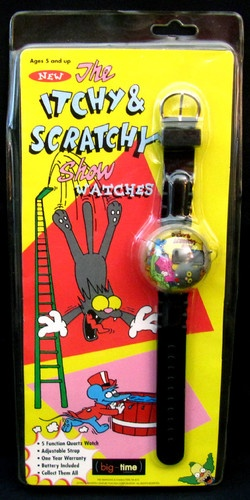 The Simpsons Itchy & Scratchy Show LCD 5 Function Big Time Watch 1993 Sealed
