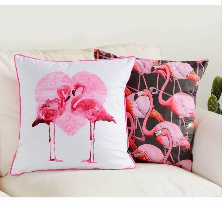 Hot! Flamingos Rosa Almofada Almofadas de Cama Novo Design Almofada Assento Da Cadeira Travesseiro Almofada Do Sofá Almofada Decorativa Home Decor de Natal(China)