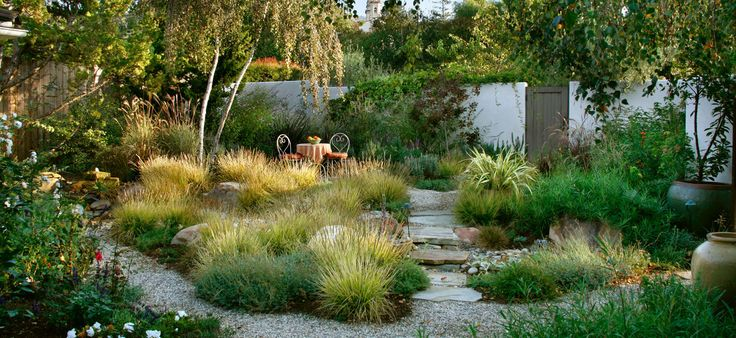 drought tolerant courtyard garden, grasses, gravel & stone, by Grace Design Associates