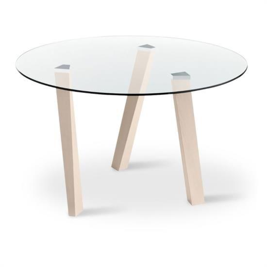 Tavolo tondo fisso con base in legno e piano in vetro.