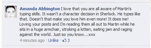FB post from Martin Freeman's wife. I love him. Amanda, I'm jealous.