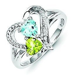 .925 Sterling Silver Peridot Blue Topaz & 0.01ct Diamond Heart Band Ring Size 8 | Jewelry & Watches, Fine Jewelry, Fine Rings | eBay!