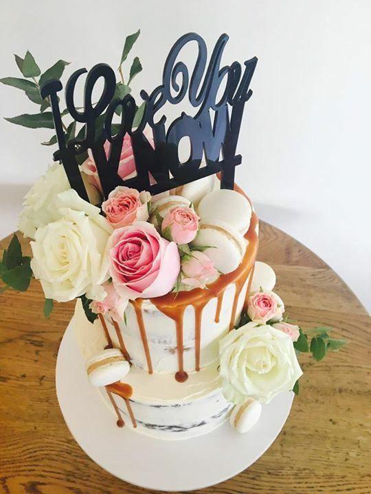 Semi naked wedding cake  Star Wars cake topper  Renate Elise Designer Cakes