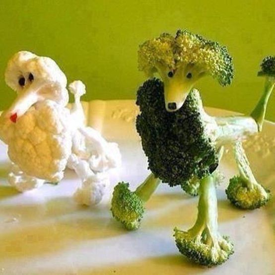 Make your veggies into animals. You kid will love these broccoli and cauliflower shaped like poodles