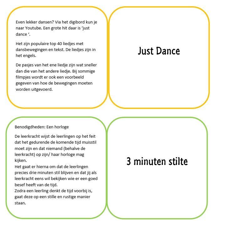 Ik heb kaartjes gemaakt met bewegingstussendoortjes, tekst van www.onderwijsmaak... De kaartjes kun je in een bakje bewaren en bijvoorbeeld het groepje met de meeste krullen een kaartje laten kiezen om met de hele klas te doen. Vouw de kaartjes dubbel zodat op de voor- en achterkant iets komt te staan.