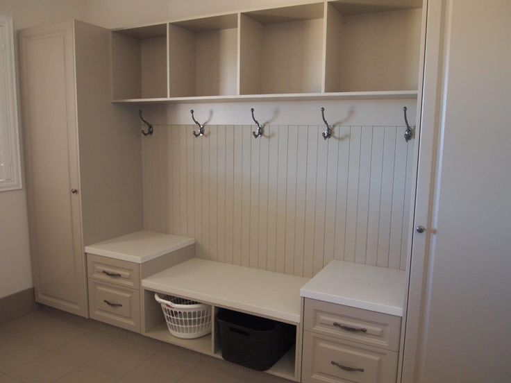 Mud locker that we built in our clients transportable home