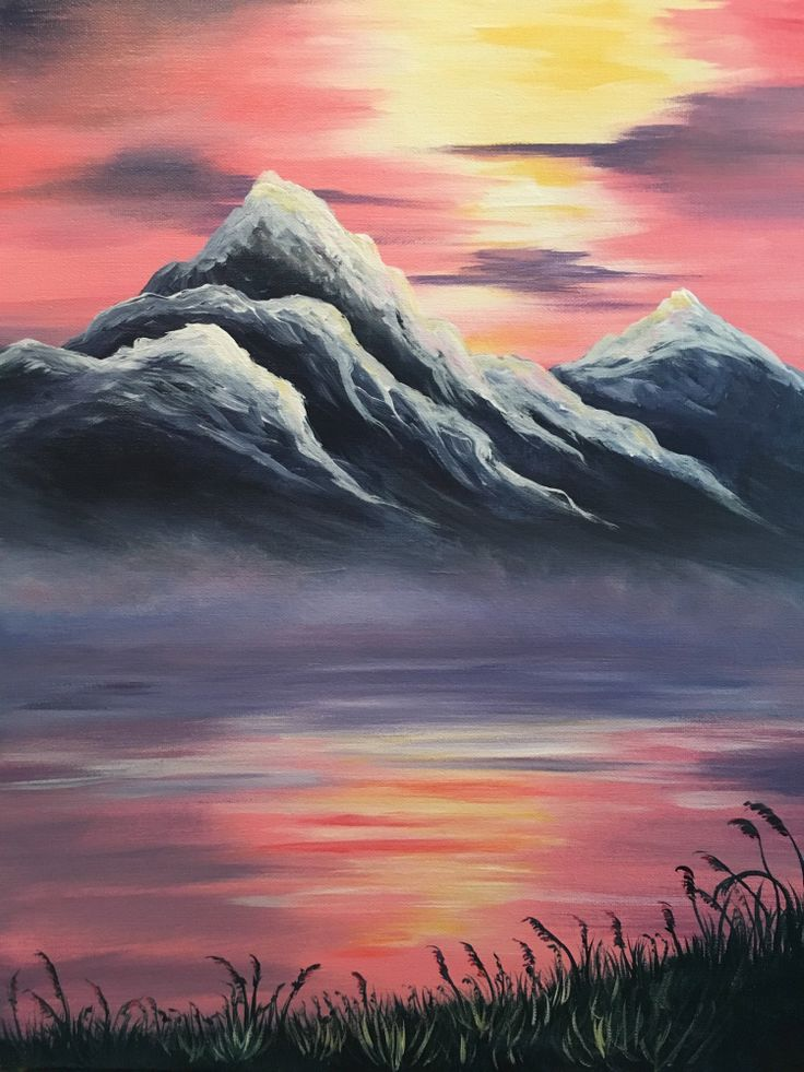 Best 25 mountain paintings ideas on pinterest mountain for Cool paintings easy