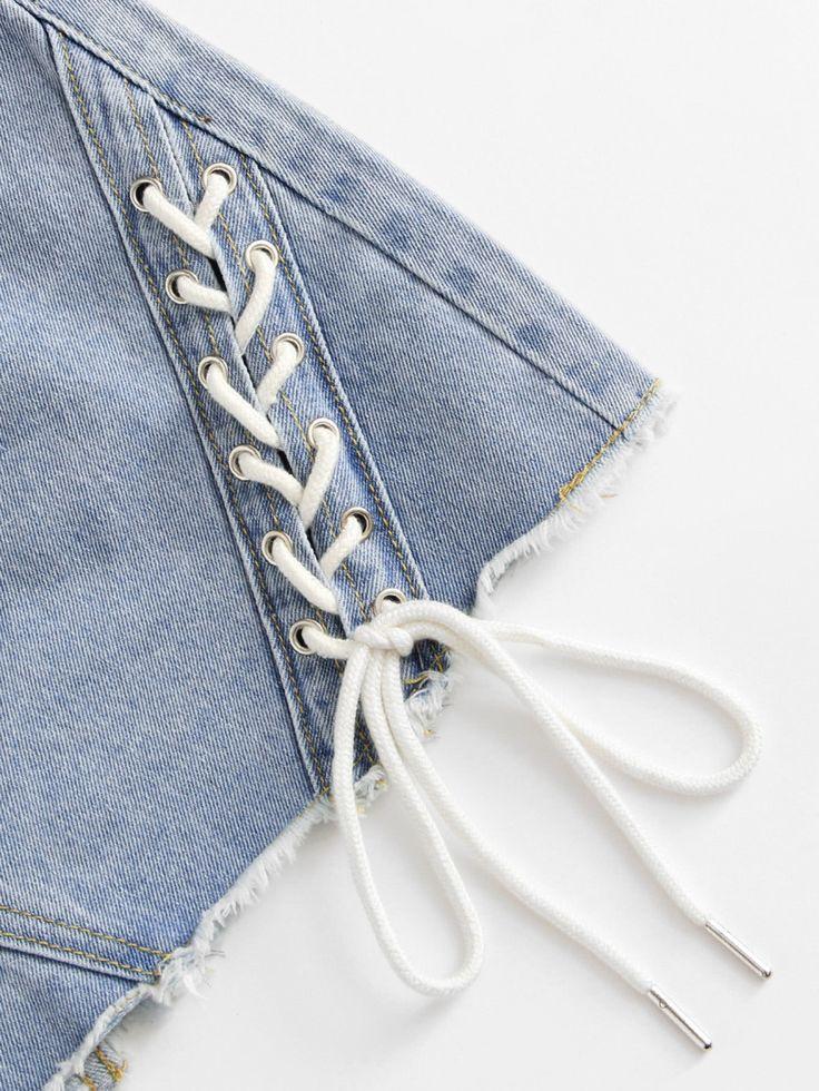 Shop Lace Up Raw Hem Denim Skirt online. SheIn offers Lace Up Raw Hem Denim Skirt & more to fit your fashionable needs.