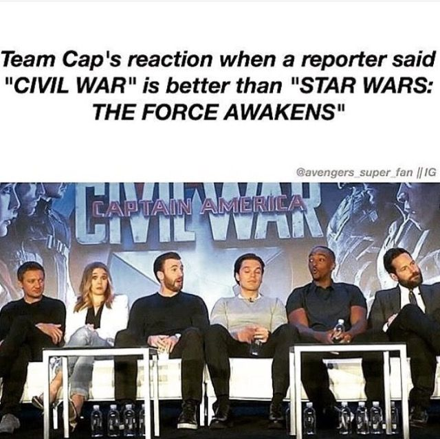 Clint: (obvious Star Wars fan) No just No  Wanda: well I guess yeah   Steve: omg I love u (completely head over heals)  Bucky: (like grandma in church) yes. I told u.  Hear these words and don't go forgetting them   Sam: OOOOOHHHHHH  Ant: do u want us to be killed. Just you wait ,Just wait watch what the Star Wars fandom will do to us now
