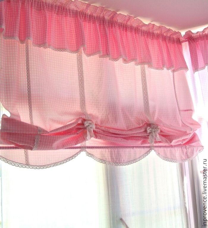 Купить Шторы австрийские в детскую для девочки в стиле Прованс и Шебби Шик - розовые шторы