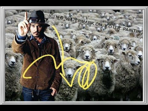 Johnny Depp introduces himself as a good shepherd in this impressive autographed wall decoration in the French countryside! This autographed wall decoration that shows the famous actor Johnny Depp in the French countryside outside of Paris, is also a GREAT gift! Questions? Send me an SMS: (+ 49-151) 2094-9859