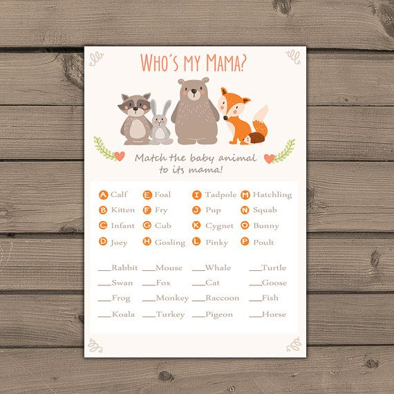 baby shower game match baby animals game instant download woodland baby shower