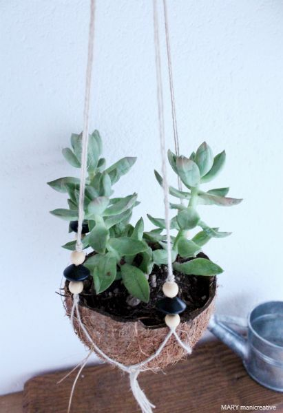 Hanging garden con gusci di cocco - tutorial