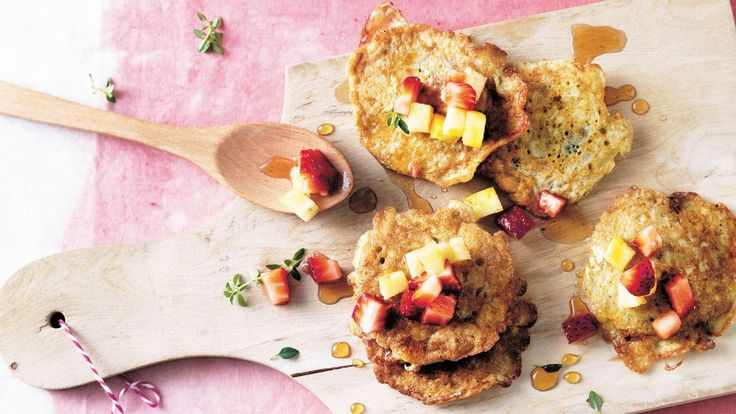 Sweet little pancakes by Michelle Bridges, brought to life with fresh fruit.