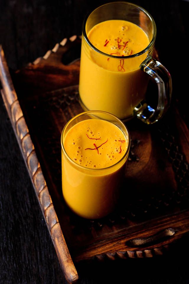mango milkshake with saffron- made with cashew milk. can be even made with almond milk.