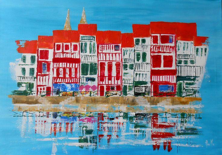 Tableau stylis la ville de bayonne peintures axelle bosler - Peinture bayonne ...