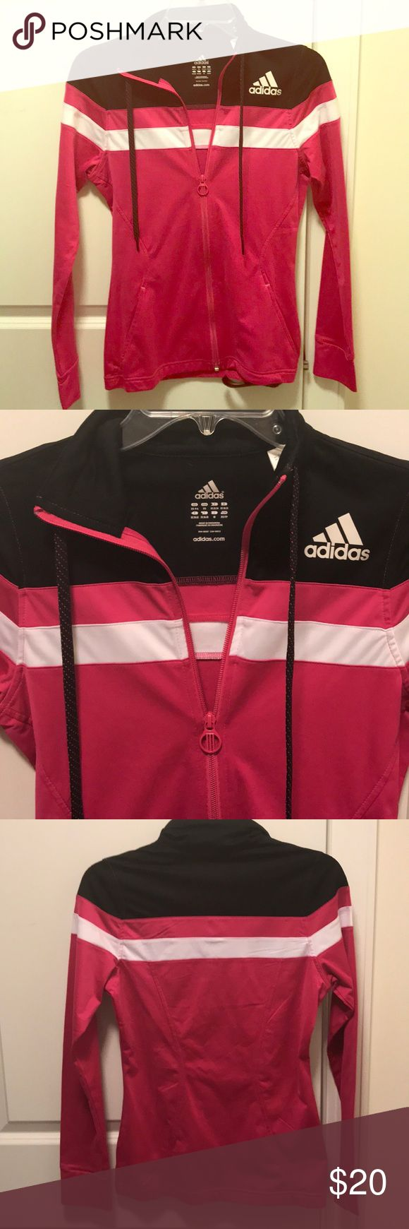 ADIDAS women's pink zip up jacket size XS Excellent condition pink/black/white Women's zip up jacket. Size XS adidas Tops Sweatshirts & Hoodies