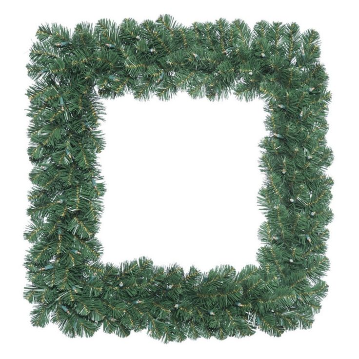 Vickerman 24 in. Oregon Fir Square Pre-Lit Wreath with 50 Clear Lights - C164825