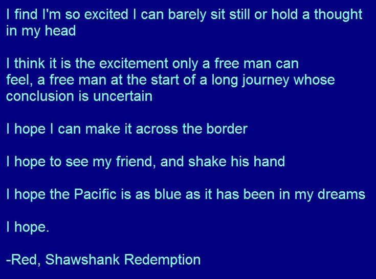 andy dufresnes search for a perfect world in the shawshank redemption This movie is two hours of great music, great acting and great scenery that is all there is to it and nothing more is needed to make this one of my favourite movies ever, up there with shawshank redemption.