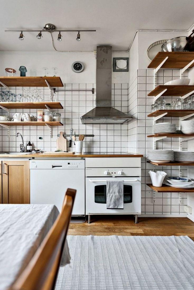 Kitchen Design Inspiration Industrial Open Concept Kichen White Tile With Dark Grout Open Shelving Mi Kitchen Design Home Decor Sale Farmhouse Style Kitchen