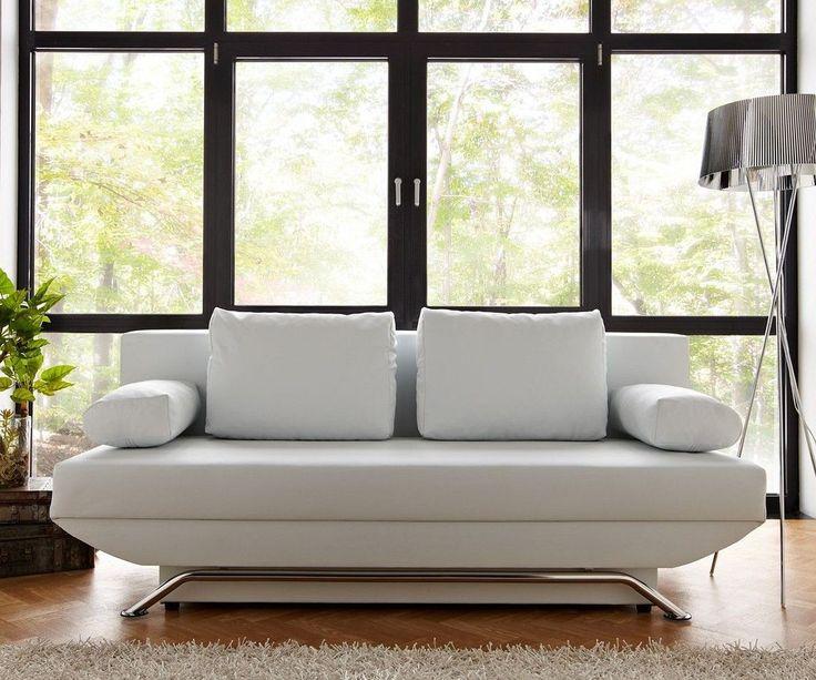 DELIFE Schlafsofa Cady 200x90 cm Weiss Couch mit Schlaffunktion, Schlafsofas 6830-6315-0