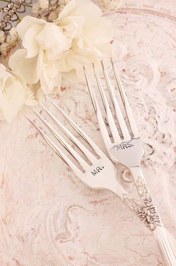 "Wow I love the"" vintageness"" of these forks!!! Bride and Groom forks. I presented these to my best friend at her wedding as well. Love them!"