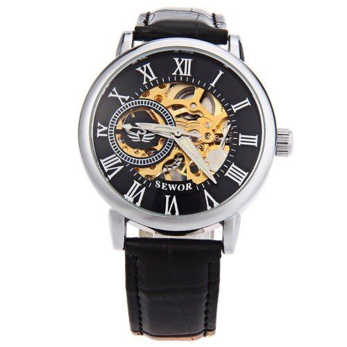 Sewor Mens Watches Genuine Leather Band Retro Male Mechanical Hand Wind…