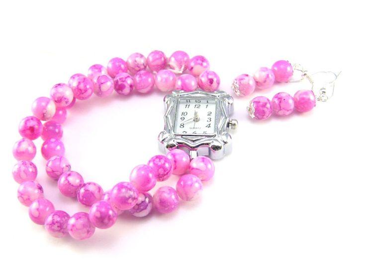 Set bratara elastica roz cu ceas si cercei