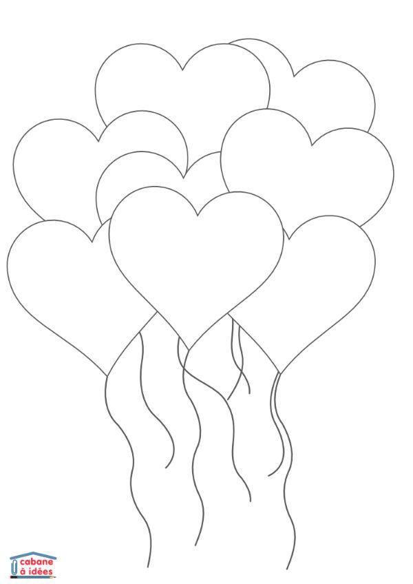 Coloriage Ballon En Coeur.Fiches Et Pdf A Telecharger Bricolage Printemps