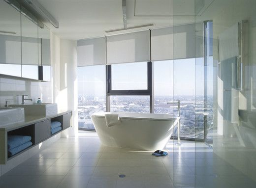 Stunning bathroom overlooking city at Yarra Point http://www.yarrapoint.com/yarra-point