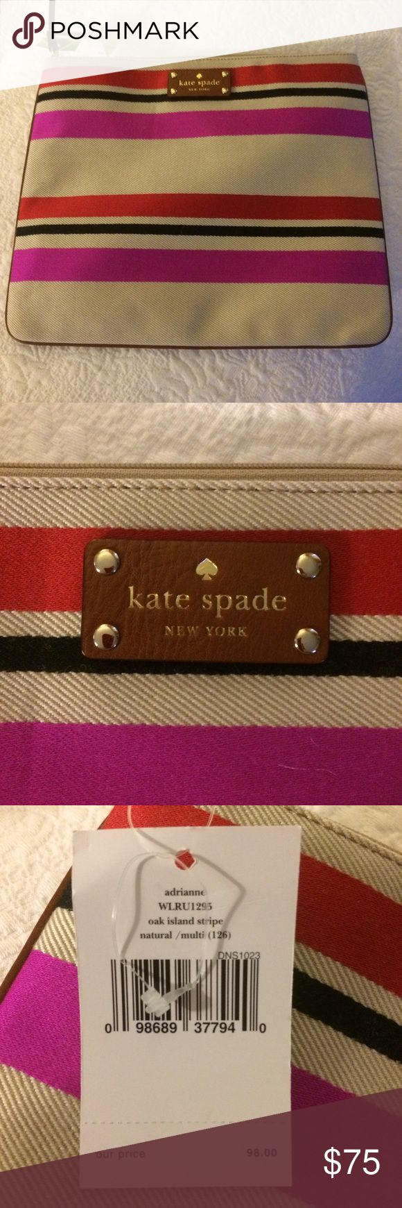 "Beautiful Kate spade canvas striped pouch Great pouch with hot pink stripes on a neutral canvas background.  Leather Kate spade ""license plate.""  Two little pockets on inside, sewn into one side (like for a cell phone or business card).  10 inches high, 12 wide! kate spade Bags"