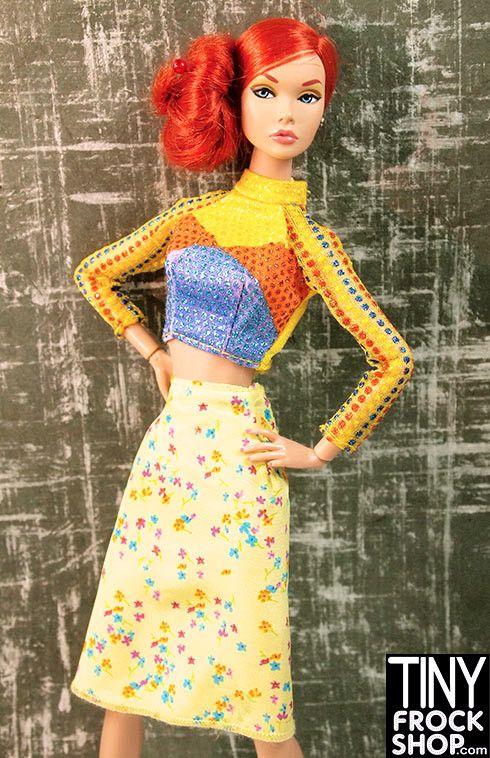 Barbie style glam doll flower skirt dress