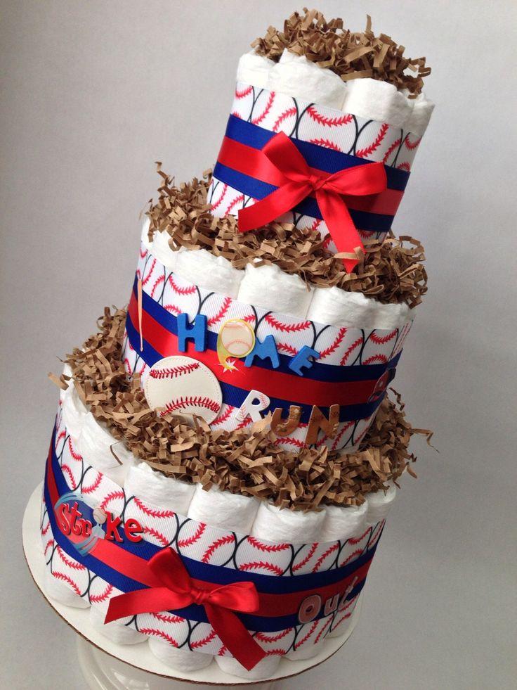 Baseball Diaper Cake, Baby Shower Centerpiece, New Baby Gift, Baseball Baby Shower, Little Slugger Diaper Cake, Sports Baby Shower by MrsHeckelDiaperCakes on Etsy https://www.etsy.com/listing/244743910/baseball-diaper-cake-baby-shower