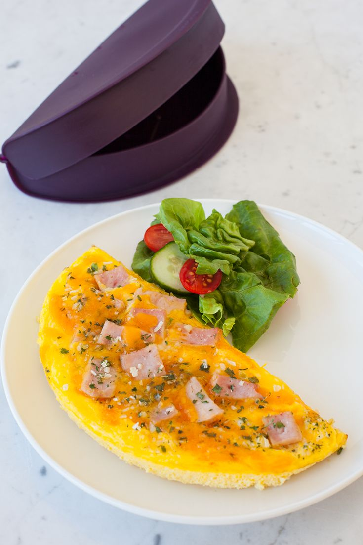 NEW! Omelet Maker - A healthy, protein packed omelet is only minutes away. Features built-in steam vents, raised walls, and curved corners for no spill cooking. Pair with Good Omelets. Real Fast.™