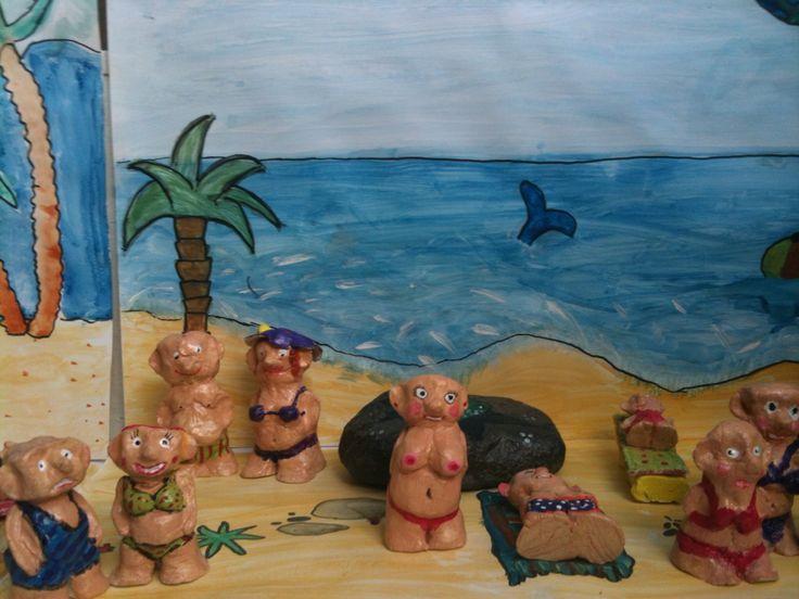 Selvhærdende lerfigurer malet med akryl
